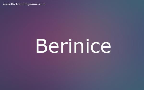 Baby Name Poster For Berinice