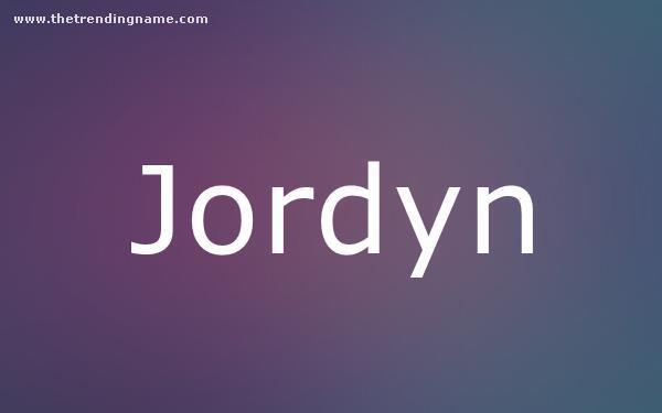 Baby Name Poster For Jordyn