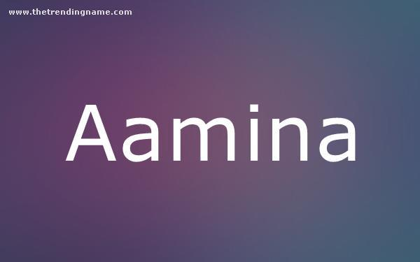 Baby Name Poster For Aamina