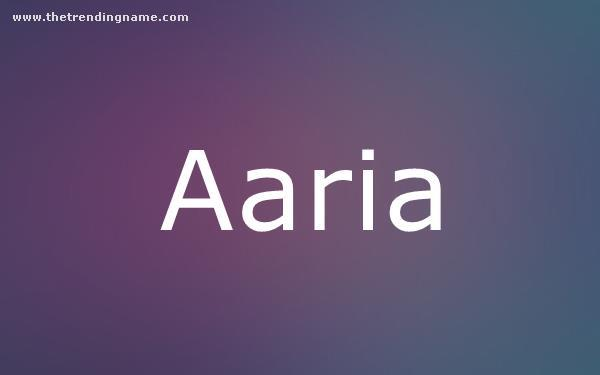 Baby Name Poster For Aaria